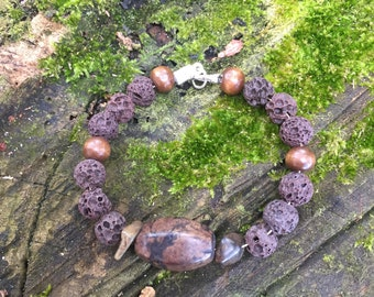 Brown lava rock bracelet
