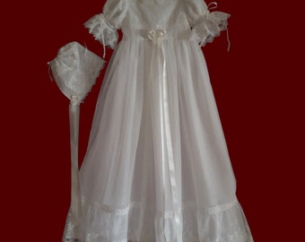 Embroidered English Netting Lace Girls Christening Gown, Slip & Bonnet