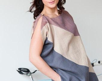 Asymmetrical Linen Dress, Business Linen Dress, Color Blocking Linen Dress, Linen Shift Dress, Knee-length Linen Dress, Beach Dress