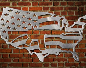 Usa Map Flag With Ar15 Cut Out Of It Metal Art Aluminum
