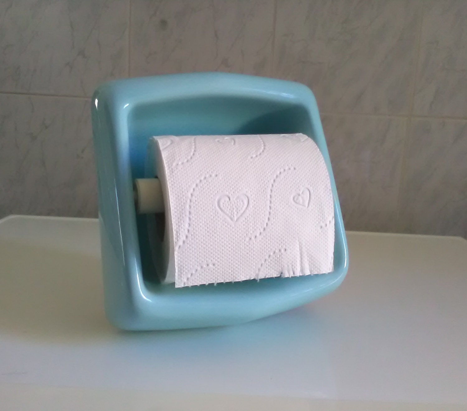 Vintage cyan ceramic toilet paper holder bathroom by vintafai - Ceramic recessed toilet roll holder ...