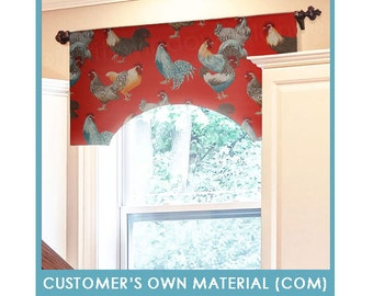 """Customer's Own Material (COM) - Arched Parisian Valance, 35 to 48"""" Wide"""