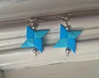 Blue Origami Star Earrings- Nickel Free- Pinwheel Earrings- Ninja Star Earrings
