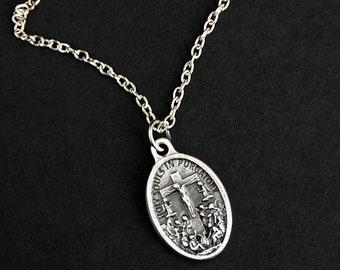 Holy Souls in Purgatory Necklace. Catholic Necklace. Purgatory Medal Necklace. Christian Necklace. Religious Necklace. Catholic Jewelry.