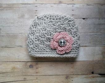 Crochet Newborn Baby Girl Pink Gray rhinestone flower hat beanie prop