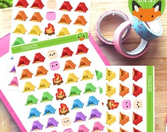 Camping Kawaii Tent Campfire Marshmallow Camp Sticker Set - Planner Stickers - Planner ...
