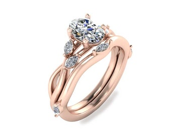 Vine Marquise Oval Diamond Engagement Ring and Matching Band Set, Wedding Ring Set, Rose Gold Jewelry, Wedding Band Set, Engagement Ring Set