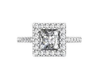 Princess Cut Diamond Halo Engagement Ring, Diamond Halo, Classic Elegance