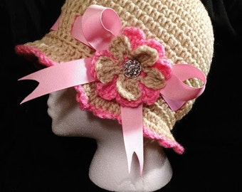 crochet cloche brim with flower and ribbon hat