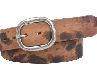 """Snap On 1 1/2"""" Oval Soft Hand Vintage Cowhide Full Grain Cow Print Leather Casual Belt(100891)"""
