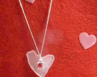 Heart Shaped Beach Glass with Red Crystal