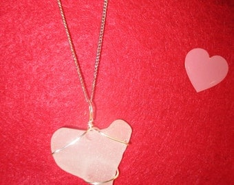 One of a Kind Heart Shaped Beach Glass Necklace!