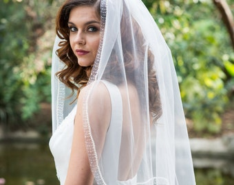 Pearl Beaded Edge Veil - Single Tier