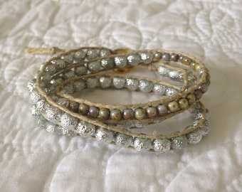 Silver and Czech Beaded Bracelet