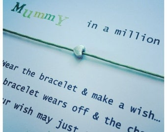 Wishing Bracelet 'Mummy in a million' Wish Bracelet Gift