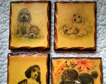 4 small hanging wooden pictures of puppies Vintage