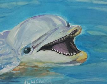 Dolphin Hello Original Watercolor Painting