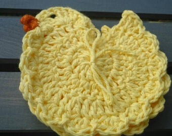 Set of 3 Chicken Doilies/Coasters 100% Cotton