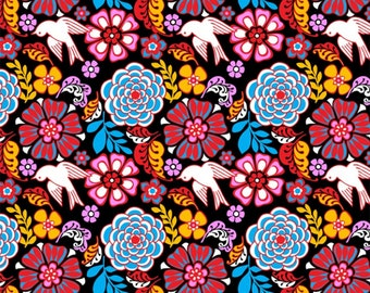 Folk Floral Fabric, Folk Floral Black Fabric by David Textile, Mexican Folklore 100% Cotton Fabric