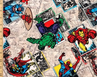 Marvel Comics Badge Fabric, Super Hero Fabric, Spiderman, Hulk, Wolverine, Ironman, Captain America Fabric by the Yard