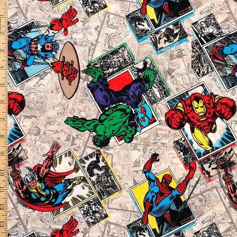 Marvel Comics Badge Fabric Super Hero Fabric Spiderman