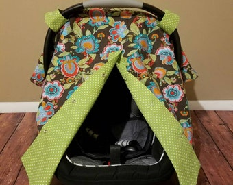 Flower Paisley polka dot carseat canopy / carseat cover