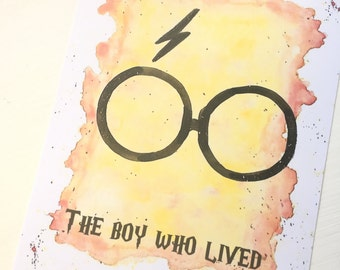 Harry Potter 'The Boy Who Lived' Watercolour A4 & A5 print