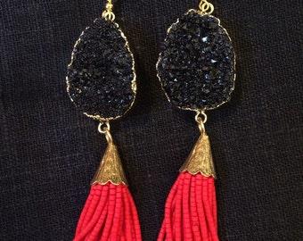 Geode tassel earrings