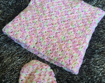 Ready to ship! Baby blanket and preemie/newborn hat