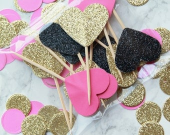 Kate Spade inspired heart shaped cupcake toppers (set of 12 toppers)