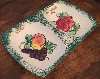 Vintage Soap and Scouring Pad Dish with Fruit and Rose Pattern | Made in Japan