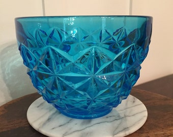 Vintage 1960's Large Mod Turquoise or Bright Aqua Blue Pressed Glass Serving Bowl with Diamond Point Pattern