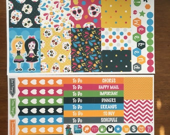 Sugar Skulls Day of the Dead Mini Weekly Set ECLP Horz and Vert Planner Stickers - Full Week ECLP Mambi Inkwell Press Filofax Kikki K Happy