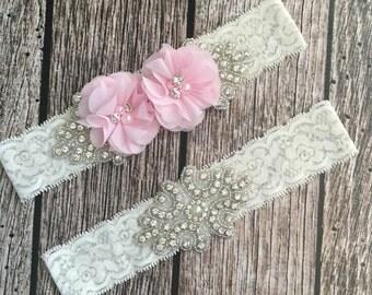 Wedding garter, pink garter, rhinestone garter, ivory garter, garter toss, lace and pearl, wedding garter set, garter set
