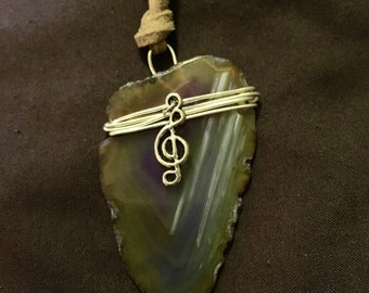 Purple Agate Geode Slice With Treble Clef Charm Wire Wrapped Necklace