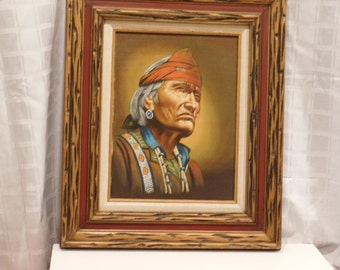 Vintage Indian / Native American Painting on Canvas with Frame