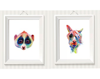 Any two art prints on Premium Textured watercolor paper, nursery art, watercolor painting, rainbow colors, for children, animals portrait.