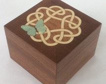 Trinket box in mahogany, marquetry Celtic knotwork and butterfly; small wooden jewellery box; inlaid jewelry box; treasure box; bracelet box