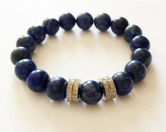 Blue lapis lazuli gemstone bracelet with 0.88 carat pave diamond