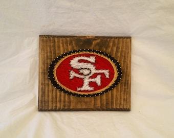 San Francisco 49ers Football Thread Wood Art