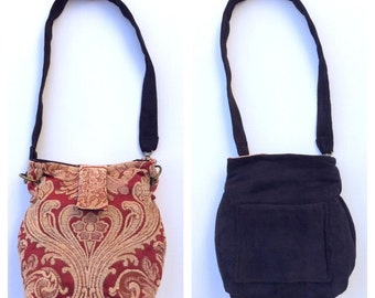 Reversible handbag, two bags in one.  Original, handcrafted Boho tapestry bag in red, gold, and black.