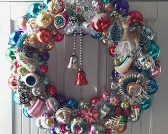 Rainbow Treasures Vintage Christmas Ornament Wreath