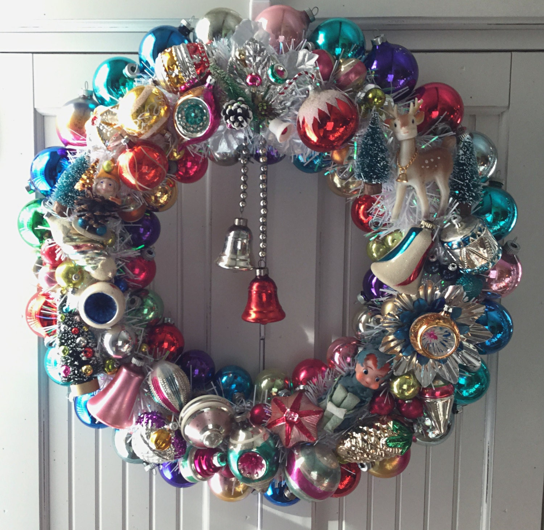 Christmas Ornaments: Rainbow Treasures Vintage Christmas Ornament Wreath