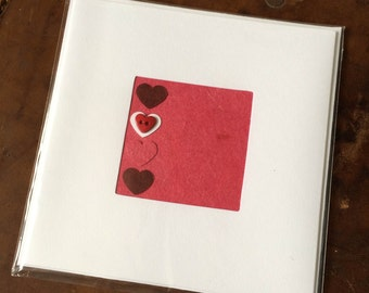 Blank Hand-Made Card - 'Hearts' - Greeting Card, Birthday Card