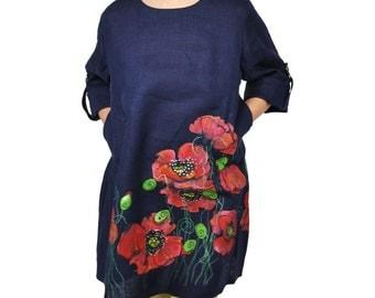 Handmade Navy Linen Dress with Poppies