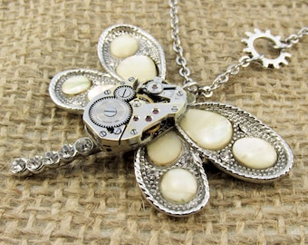 Steampunk Womens Necklace, Watch movement on Dragonfly, Steel dragonfly, Fantastic Dragonfly pendant, Best ladies Gift, best teen jewelry