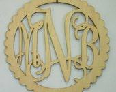Scallop Laser Cut Wood Monogram Wall Art WA 401