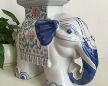 """Vintage Ceramic Elephant Garden Stool Statue Plant Stand Chinoiserie 12"""""""