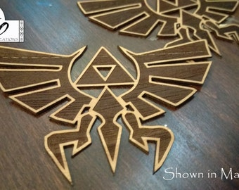 Laser Engraved Legend of Zelda Hyrule Crest Wooden Sticker