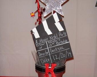 2 Movie Night Centerpiece/ Hollywood Themed Centerpiece